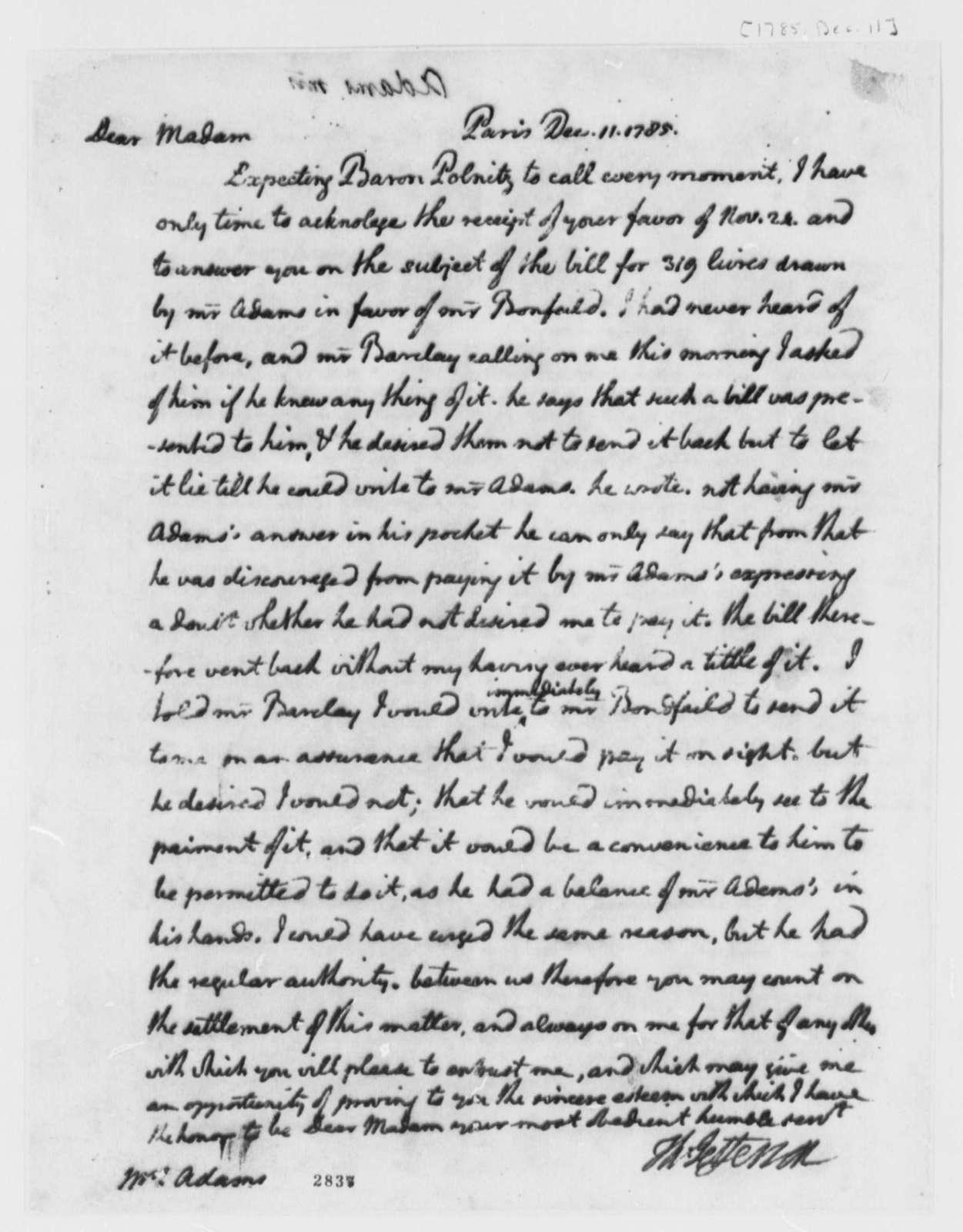Thomas Jefferson to Abigail Smith Adams, December 11, 1785