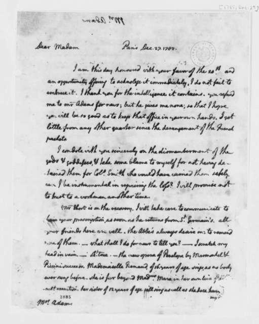 Thomas Jefferson to Abigail Smith Adams, December 27, 1785, Incomplete
