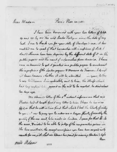 Thomas Jefferson to Abigail Smith Adams, November 20, 1785