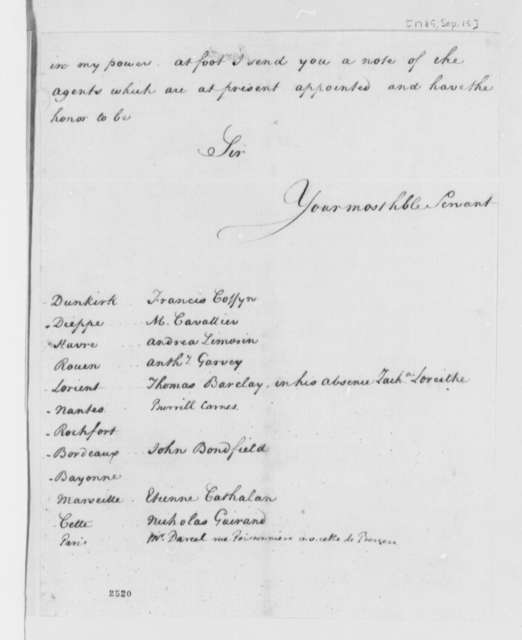 Thomas Jefferson to American Consuls at French Ports, September 15, 1785, Appointments as Commercial Agents of the United States
