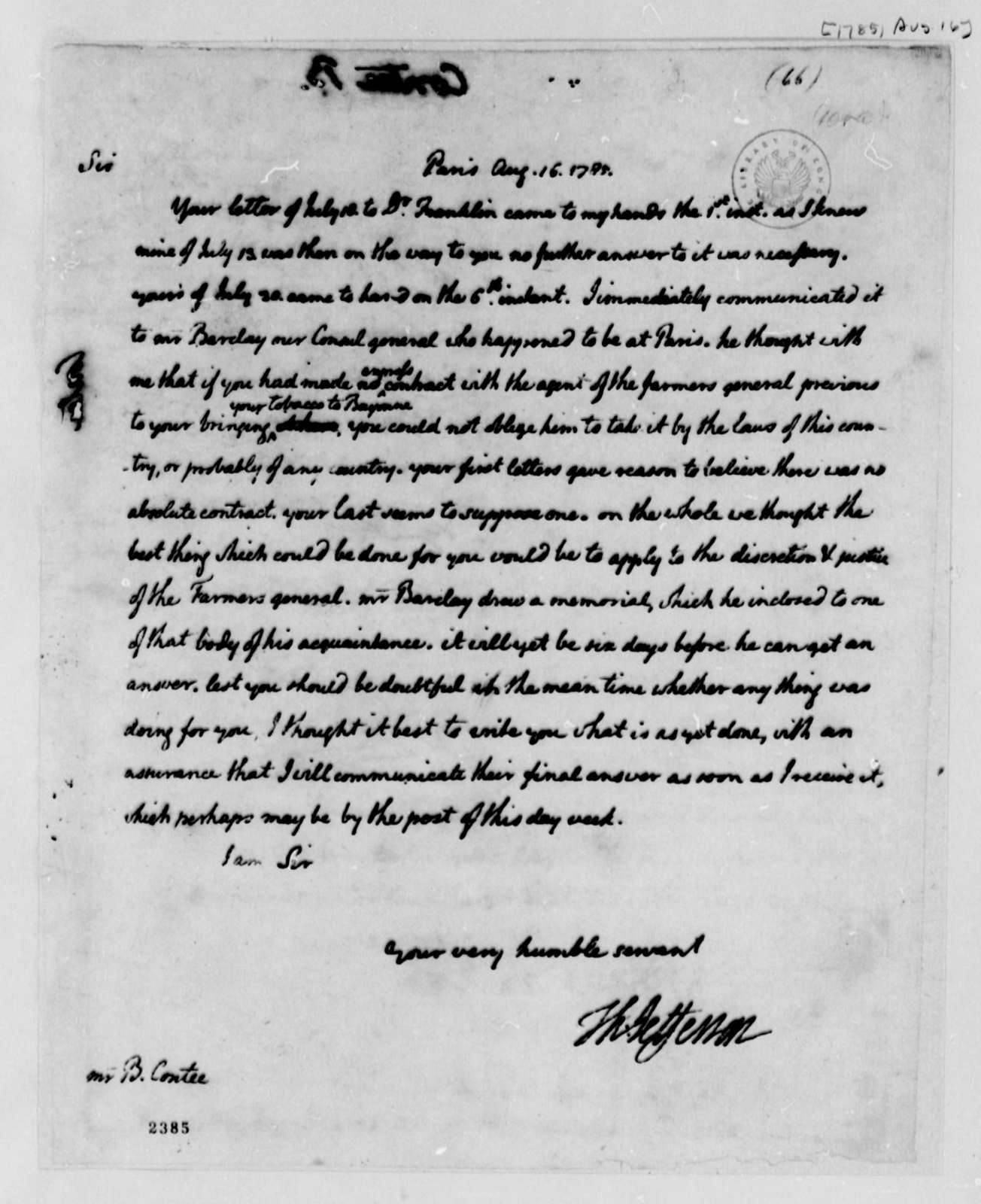 Thomas Jefferson to B. Contee, August 16, 1785
