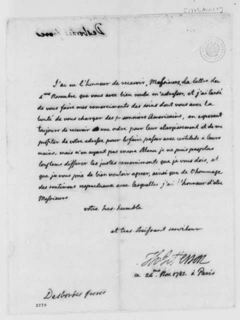 Thomas Jefferson to Borgnis Desbordes, Freres, November 24, 1785, Lister Asquith's Maritime Law Case; William & Catherine (ship); in French