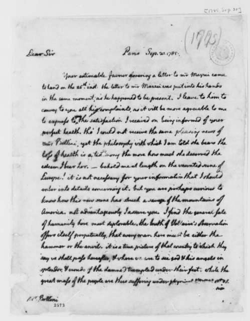 Thomas Jefferson to Charles Bellini, September 30, 1785