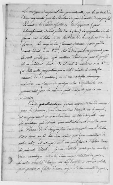 Thomas Jefferson to Charles Gravier, Comte de Vergennes, August 16, 1785, Tobacco Trade Between France and the United States; La Ferme Generale; in French with Translation