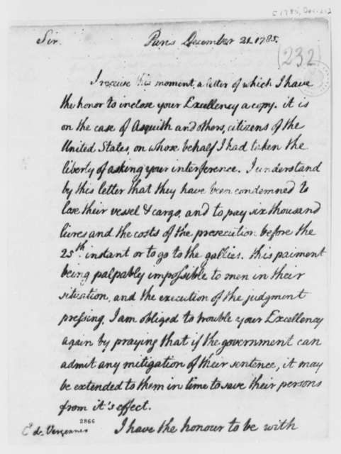 Thomas Jefferson to Charles Gravier, Comte de Vergennes, December 21, 1785, Lister Asquith's Maritime Law Case; William & Catherine (ship)