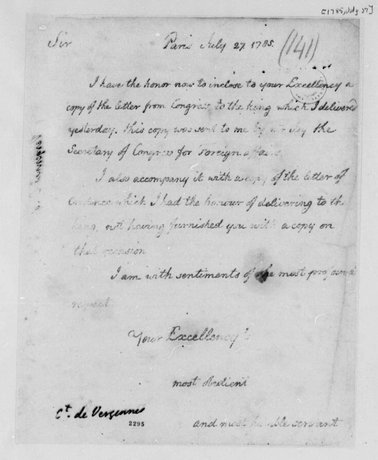 Thomas Jefferson to Charles Gravier, Comte de Vergennes, July 27, 1785