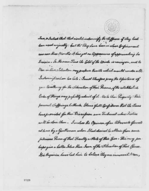 Thomas Jefferson to Charles Gravier, Comte de Vergennes, November 14, 1785, in French; with Report on Lister Asquith's Maritime Law Case; William & Catherine (ship)