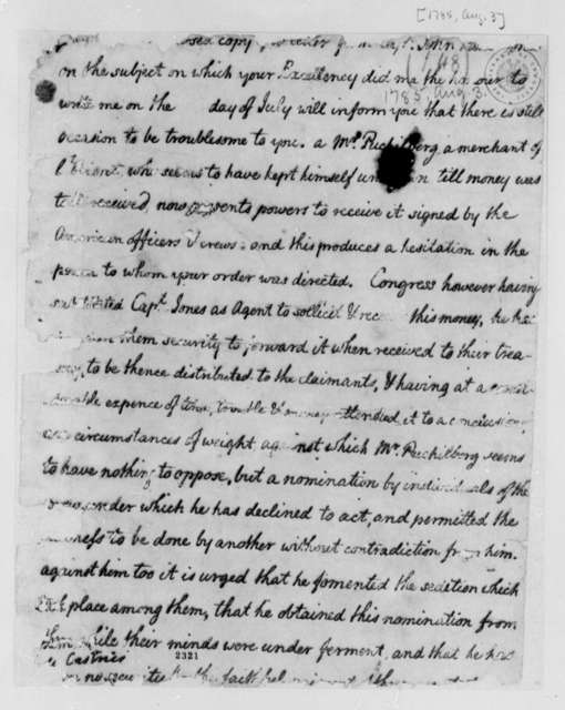 Thomas Jefferson to Charles, Marquis de Castries, August 3, 1785