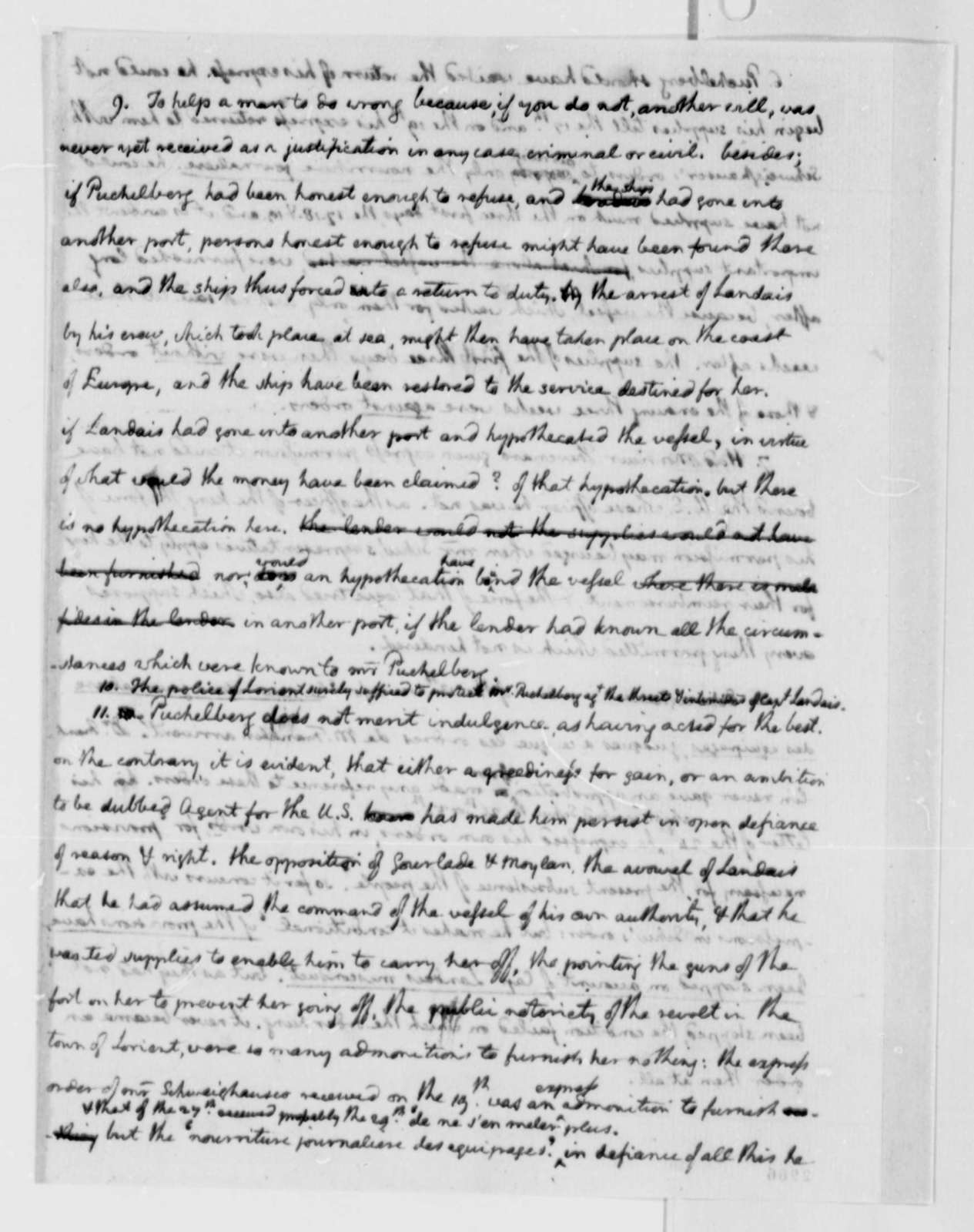 Thomas Jefferson to Charles, Marquis de Castries, July 10, 1785, with Memorandum on John Paul Jones' Authorization to Collect Prizes of War; with Copy