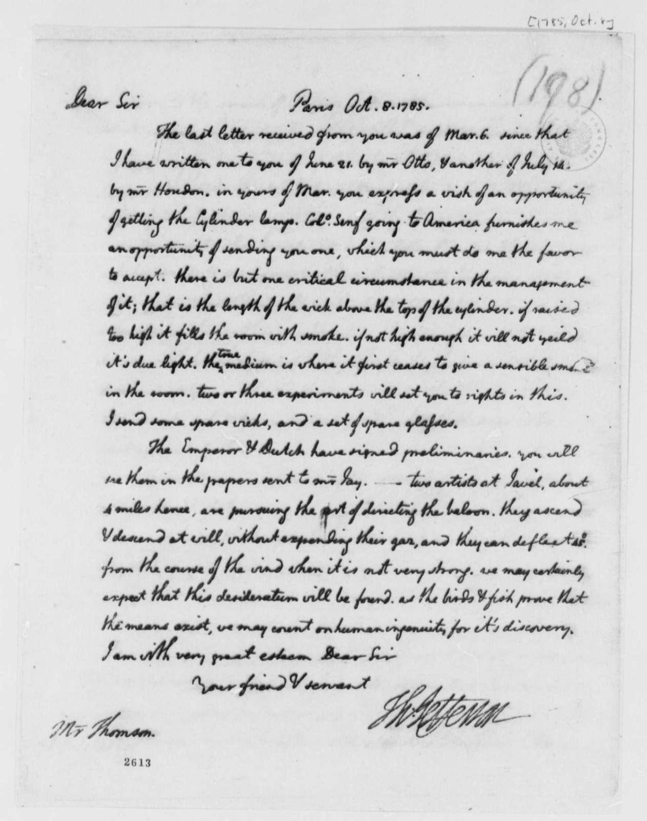 Thomas Jefferson to Charles Thomson, October 8, 1785