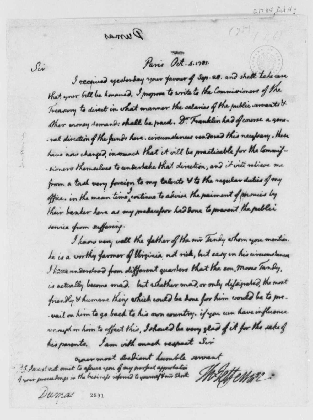 Thomas Jefferson to Charles William Frederic Dumas, October 4, 1785