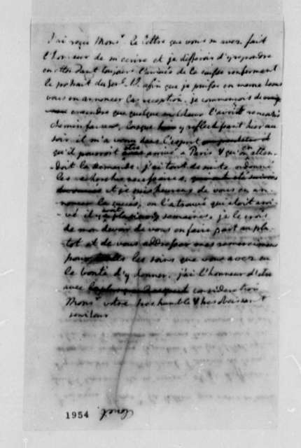 Thomas Jefferson to Clouet (Marine Commissioner at L'Orient), January 26, 1785, in French; with Draft
