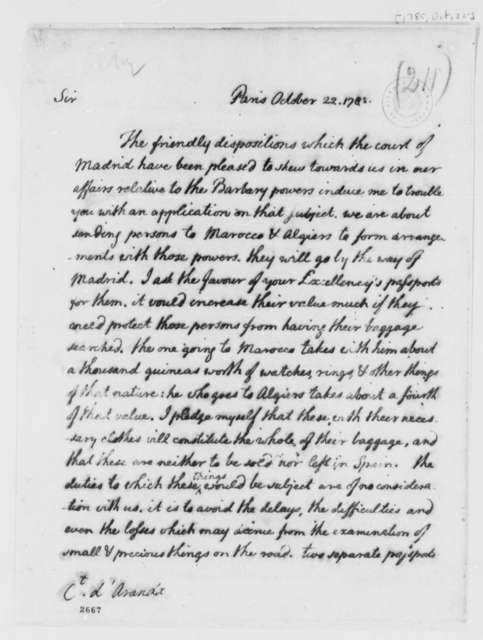 Thomas Jefferson to Conde d'Aranda, October 22, 1785