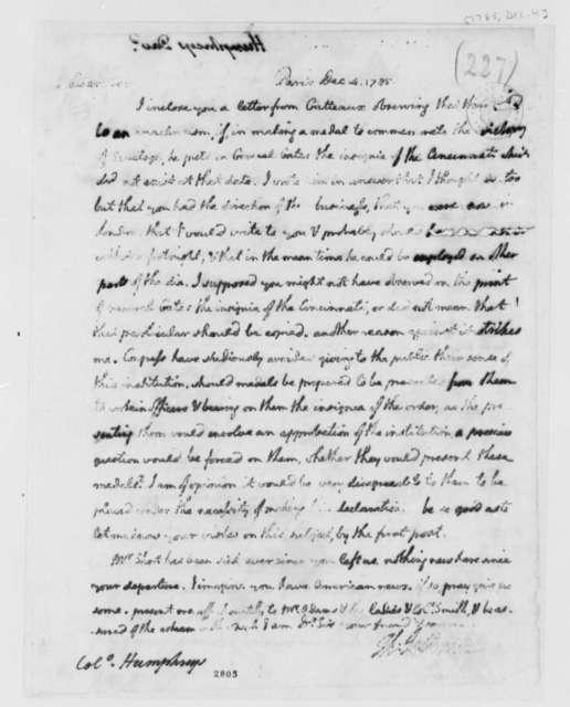 Thomas Jefferson to David Humphreys, December 4, 1785