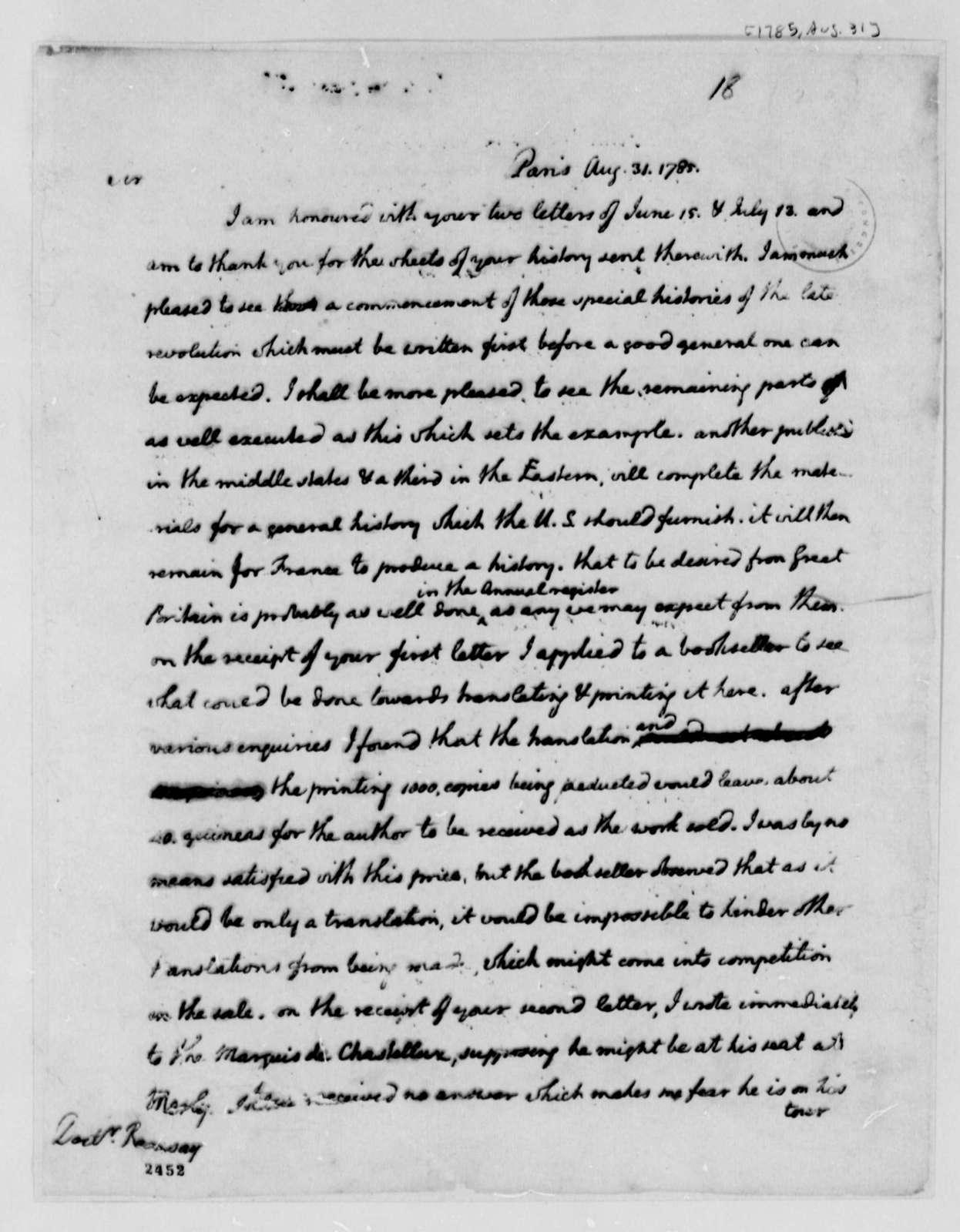 Thomas Jefferson to David Ramsay, August 31, 1785