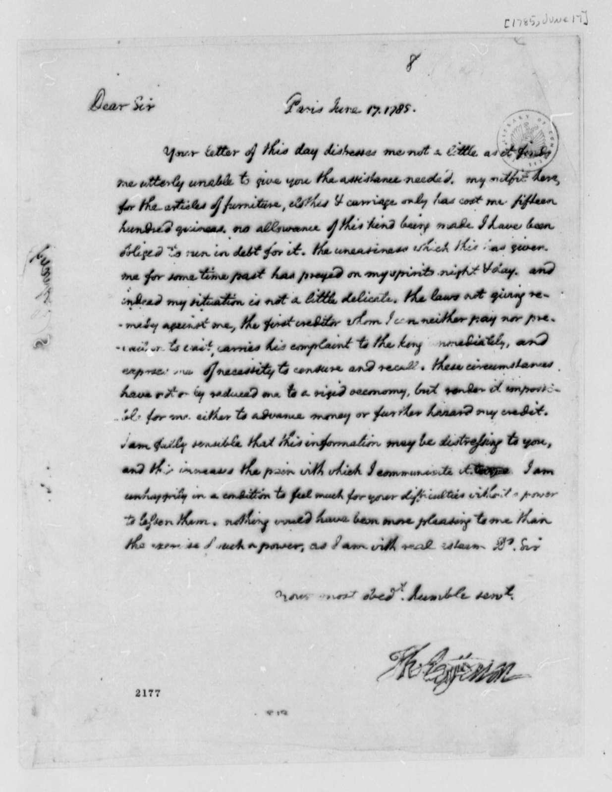Thomas Jefferson to David S. Franks, June 17, 1785
