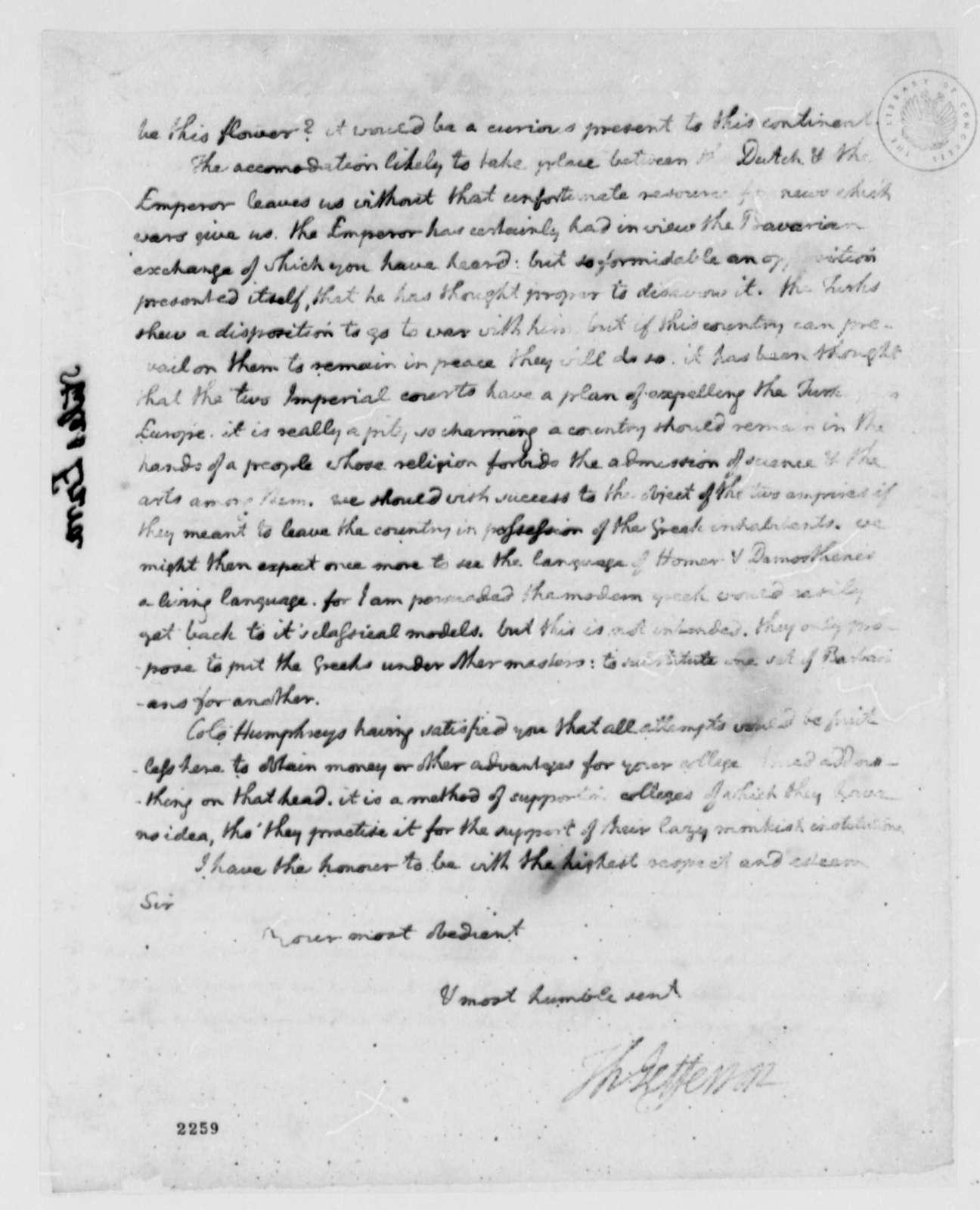 Thomas Jefferson to Ezra Stiles, July 17, 1785