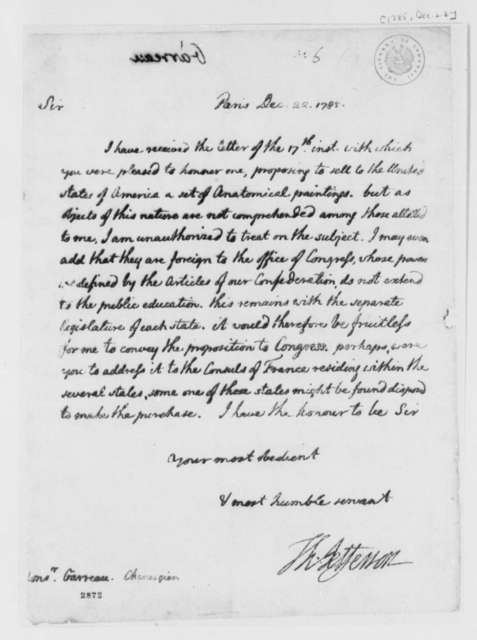 Thomas Jefferson to Garreau, December 22, 1785, Collection of Anatomical Paintings