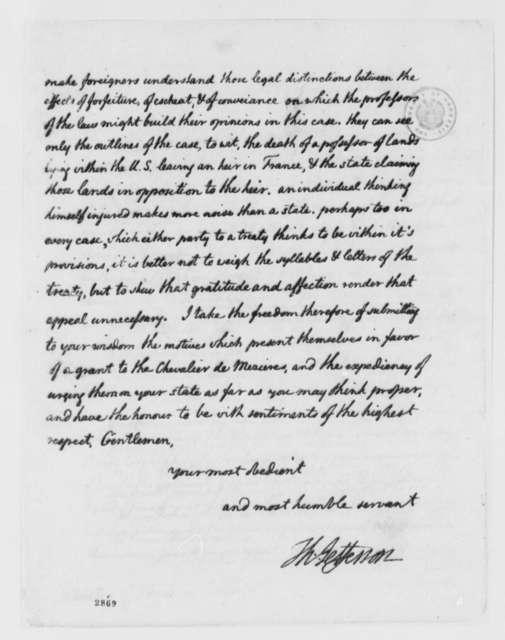 Thomas Jefferson to Georgia Delegates in United States Congress, December 22, 1785, Claim by Chevalier de Mezieres on Oglethorpe Estate in Georgia