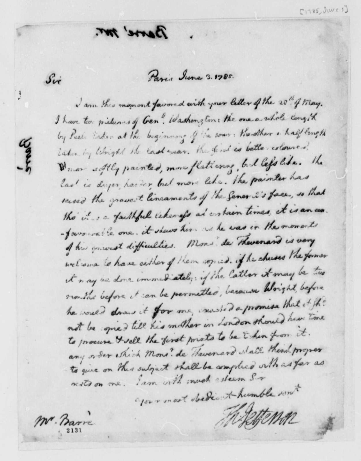Thomas Jefferson to Isaac Barre, June 3, 1785