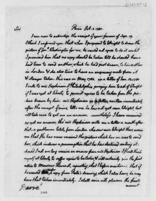 Thomas Jefferson to Isaac Barre, October 2, 1785