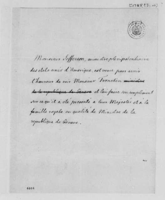 Thomas Jefferson to Jean Armand Tronchin, 1785