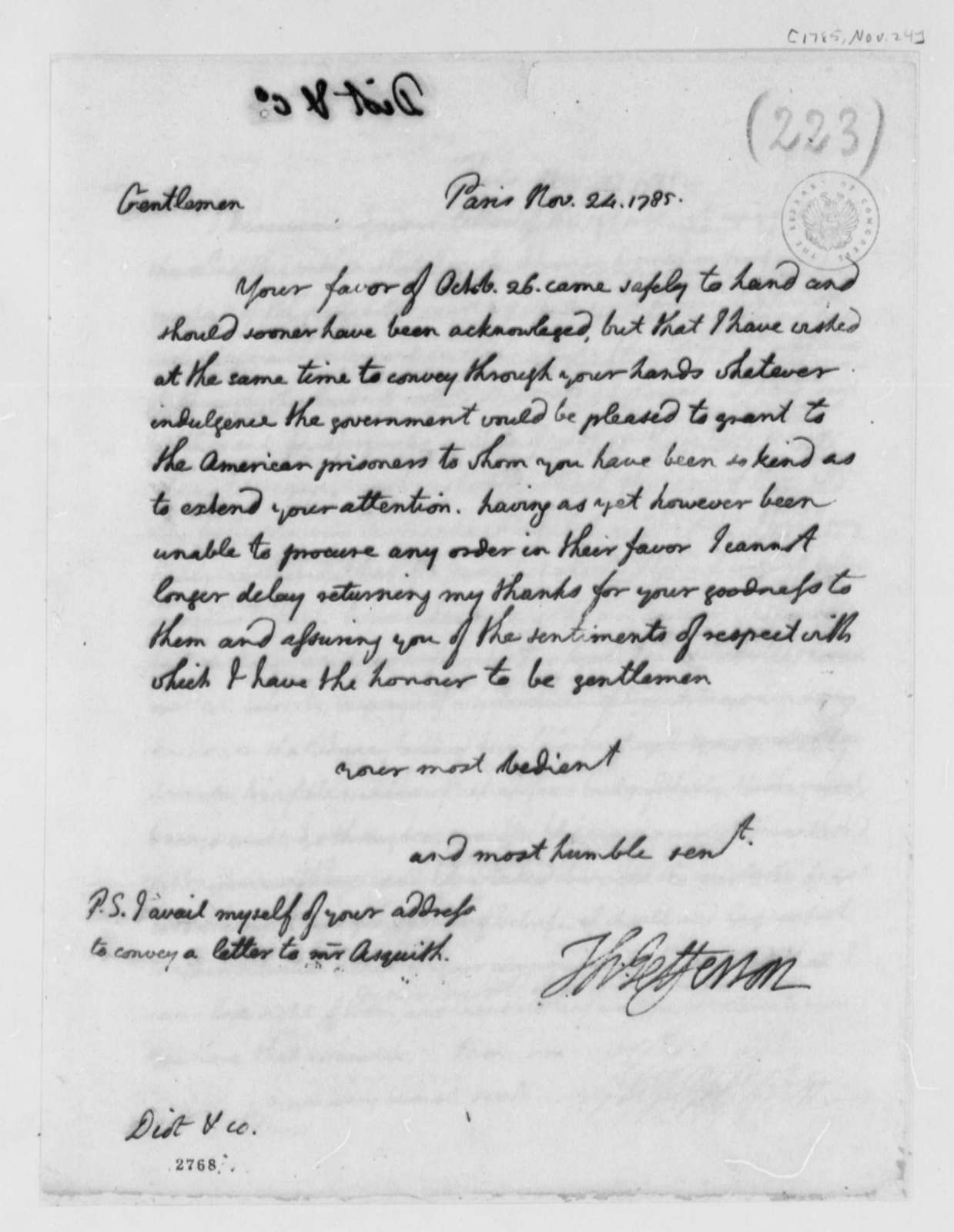 Thomas Jefferson to Jean Diot & Company, November 24, 1785, Lister Asquith's Maritime Law Case; William & Catherine (ship)