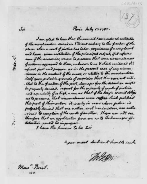 Thomas Jefferson to Jean Francois Briet, July 13, 1785