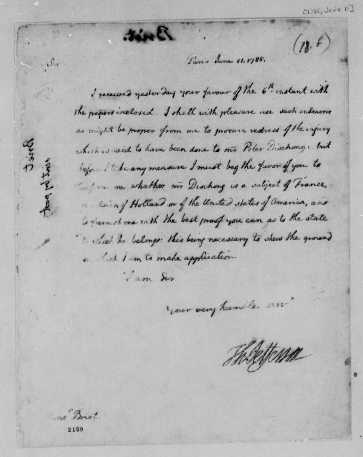 Thomas Jefferson to Jean Francois Briet, June 11, 1785