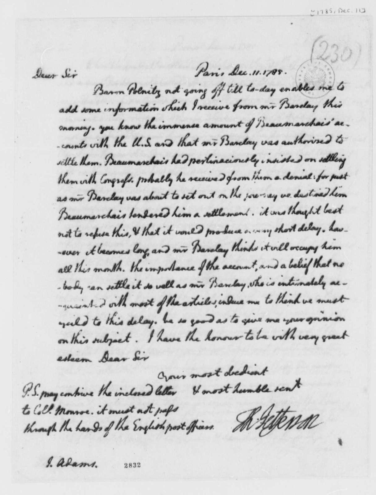 Thomas Jefferson to John Adams, December 11, 1785
