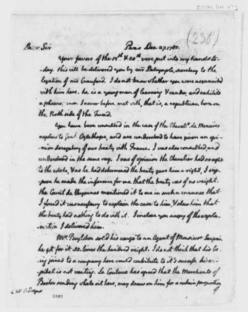 Thomas Jefferson to John Adams, December 27, 1785, Four Paragraphs and Postscript Missing