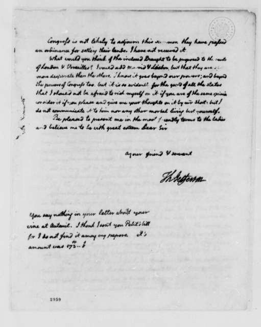 Thomas Jefferson to John Adams, July 28, 1785, First Page and Enclosure Missing