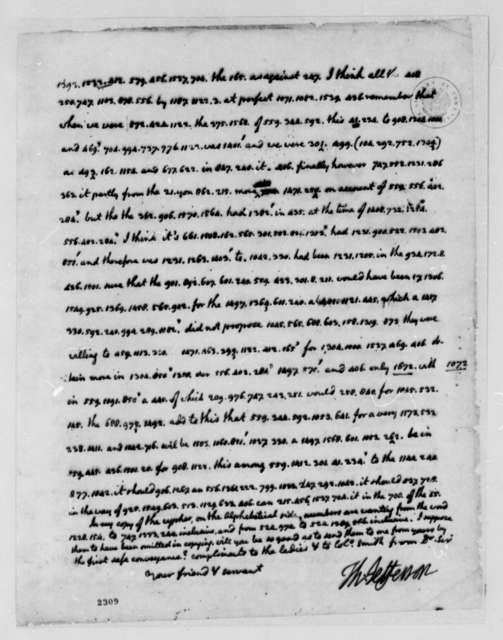Thomas Jefferson to John Adams, July 31, 1785, Partially in Cipher, Using Code Number 8; with Jefferson's Transcription of Coded Words