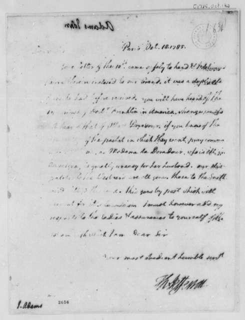 Thomas Jefferson to John Adams, October 18, 1785