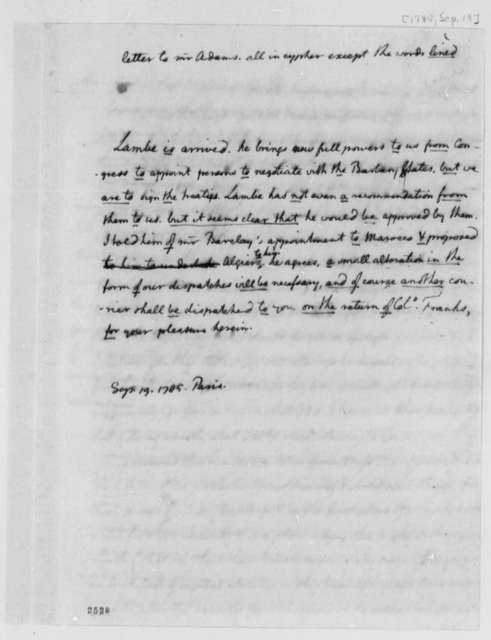Thomas Jefferson to John Adams, September 20, 1785