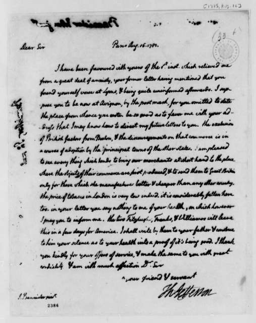 Thomas Jefferson to John Banister Jr., August 16, 1785
