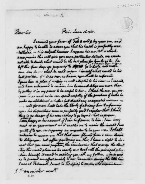 Thomas Jefferson to John Banister, Sr., June 16, 1785