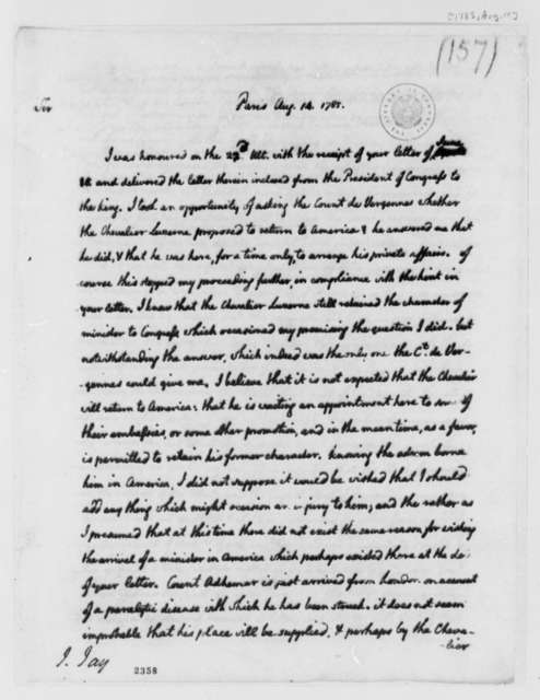 Thomas Jefferson to John Jay, August 14, 1785, two same date; British Right of Salute in English Channel; Captain Peyrouse; Longchamps, Marbois Dispute