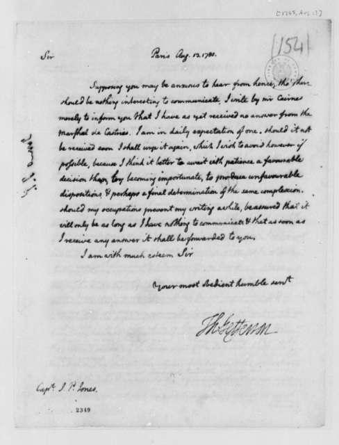 Thomas Jefferson to John Paul Jones, August 13, 1785