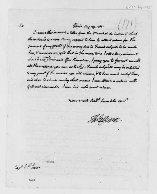 Thomas Jefferson to John Paul Jones, August 29, 1785