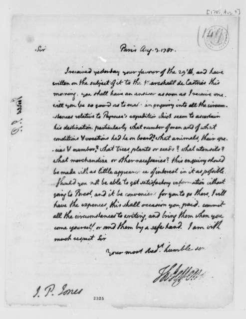 Thomas Jefferson to John Paul Jones, August 3, 1785