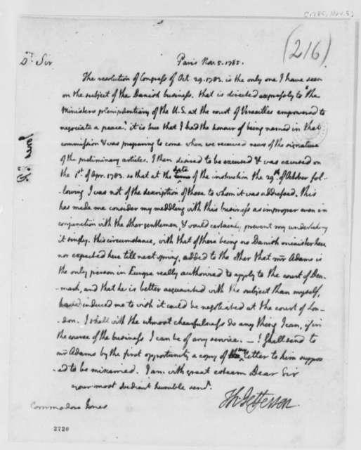 Thomas Jefferson to John Paul Jones, November 5, 1785, Relations with Denmark