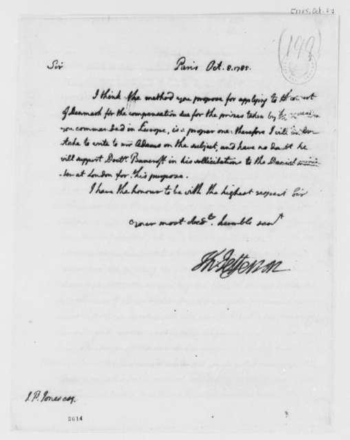 Thomas Jefferson to John Paul Jones, October 8, 1785
