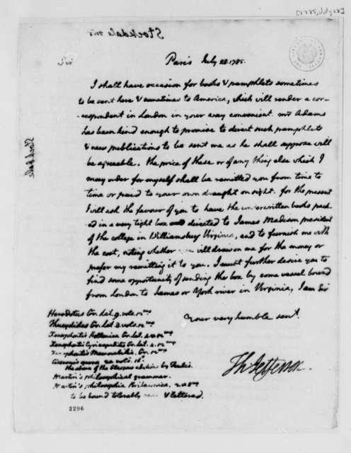 Thomas Jefferson to John Stockdale, July 28, 1785