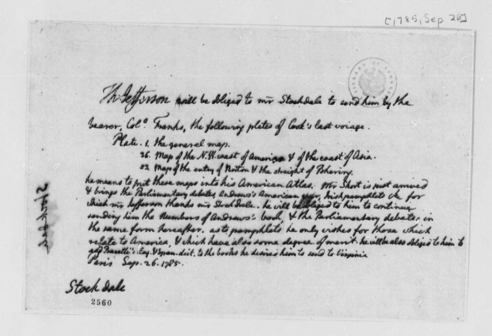 Thomas Jefferson to John Stockdale, September 26, 1785