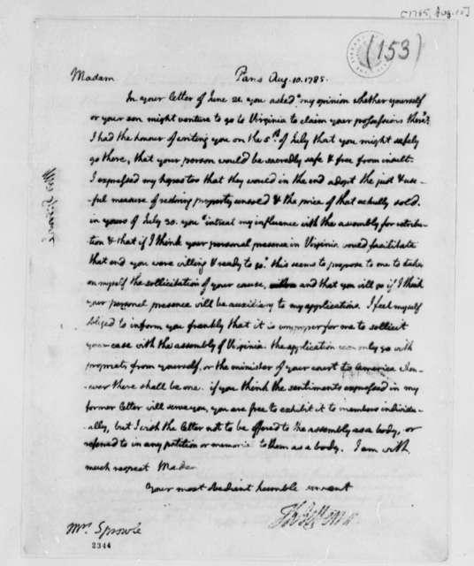 Thomas Jefferson to Katherine Sprowle Douglas, August 10, 1785