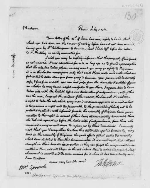 Thomas Jefferson to Katherine Sprowle Douglas, July 5, 1785