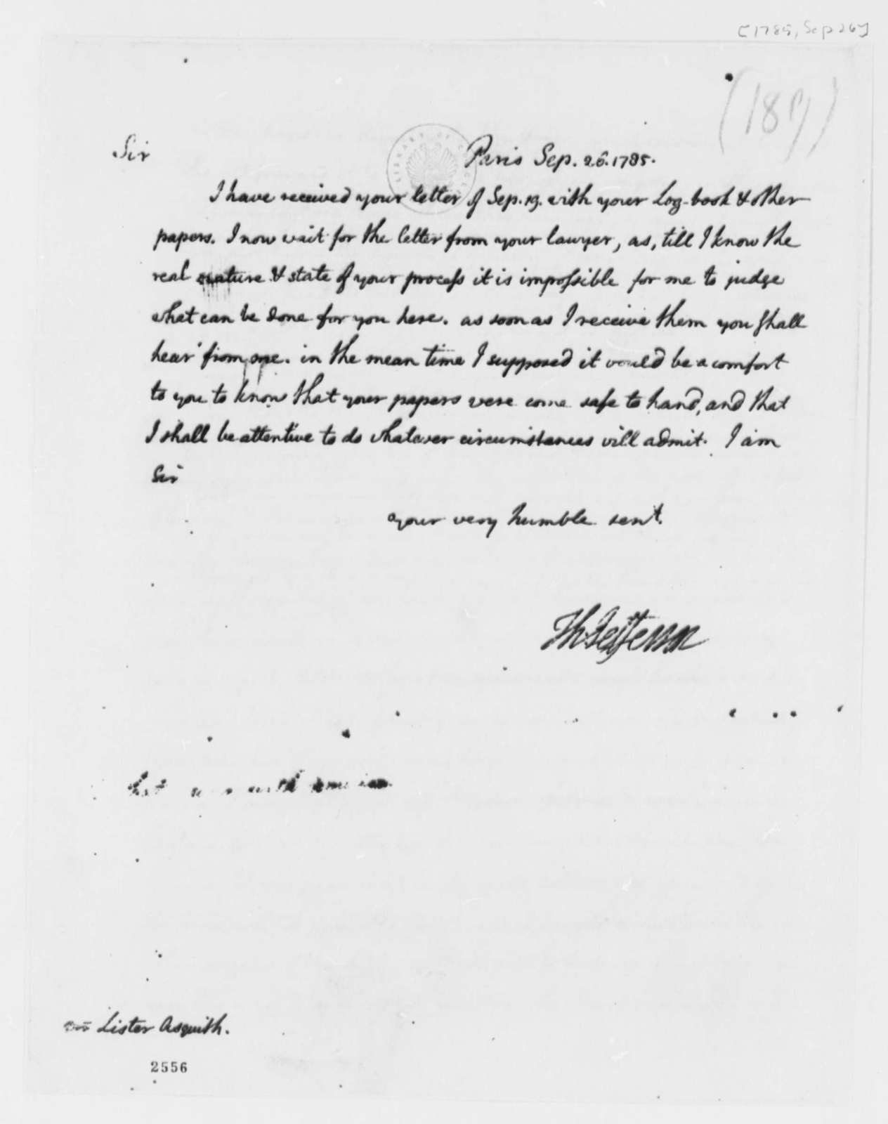 Thomas Jefferson to Lister Asquith, September 26, 1785, William & Catherine (ship)