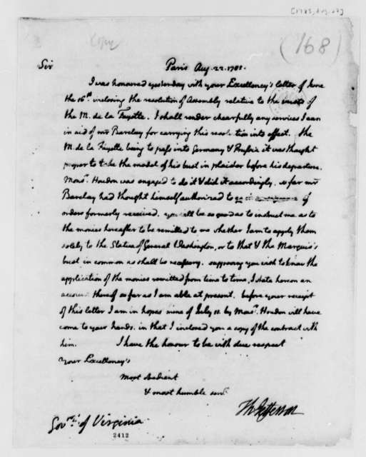 Thomas Jefferson to Patrick Henry, August 22, 1785, with Expense Account