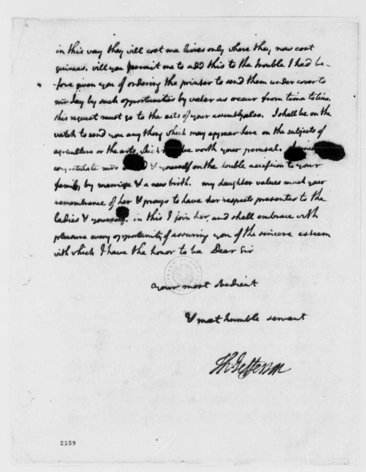 Thomas Jefferson to Ralph Izard, September 26, 1785